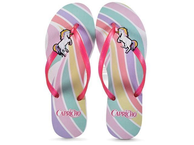 Chinelo Feminino Capricho Cp3072  Unicornio Branco/pink