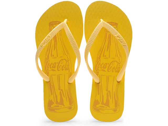 Chinelo Feminino Coca-cola Shoes Cc0589 Amarelo