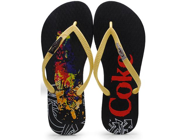 Chinelo Feminino Coca-cola Shoes Cc0642 Preto/amarelo