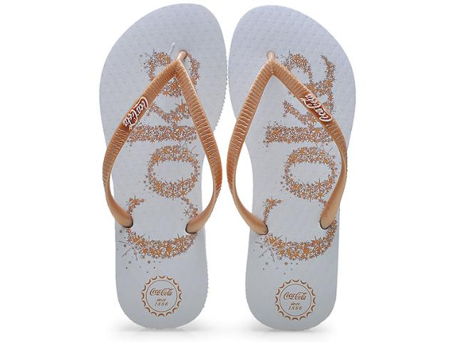 Chinelo Feminino Coca-cola Shoes Cc0483 Branco/dourado