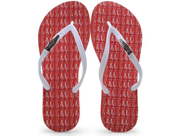 Chinelo Feminino Coca-cola Shoes Cc0594 Vermelho/branco