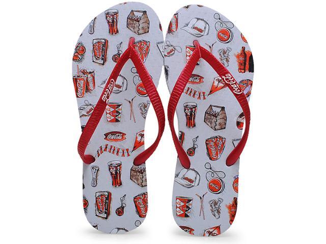 Chinelo Feminino Coca-cola Shoes Cc0636 Branco/vermelho