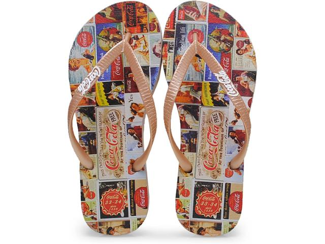 Chinelo Feminino Coca-cola Shoes Cc0198 Dourado