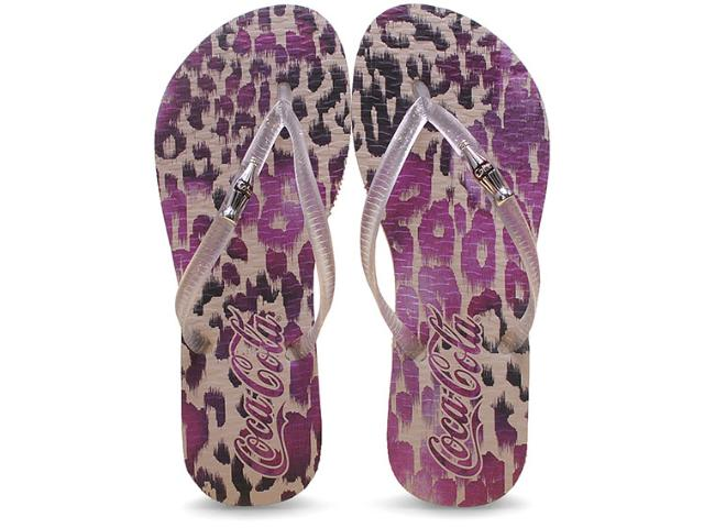 Chinelo Feminino Coca-cola Shoes Cc2044 Metal Leopard/incolor