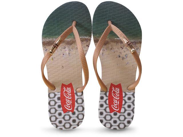 Chinelo Feminino Coca-cola Shoes Cc2086 Branco/dourado