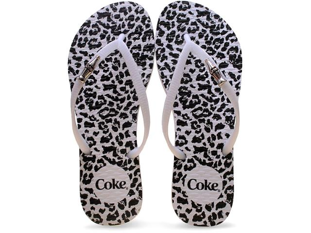 Chinelo Feminino Coca-cola Shoes Cc2102 Onca Branco/preto