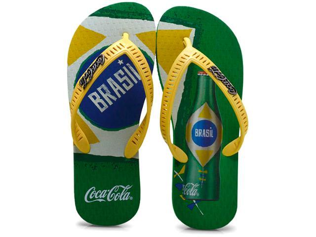 Chinelo Masculino Coca-cola Shoes Cc0567 Amarelo/verde