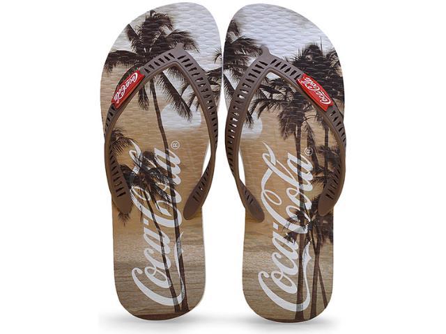 Chinelo Masculino Coca-cola Shoes Cc2101 Branco/marrom