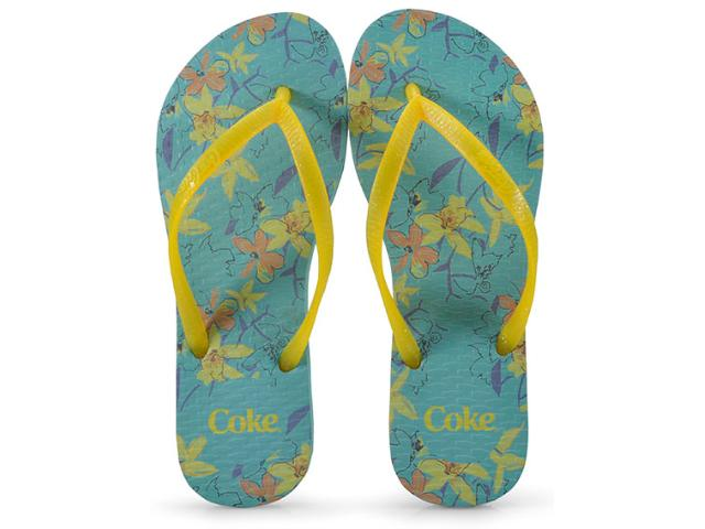 Chinelo Feminino Coca-cola Shoes Ccl2300 Aqua/amarelo