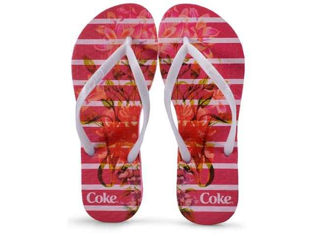 Chinelo Feminino Coca-cola Shoes Ccl2349 Pink/branco