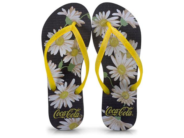 Chinelo Feminino Coca-cola Shoes Ccl2391 Preto/amarelo