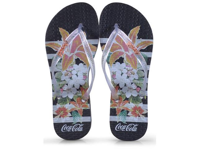Chinelo Feminino Coca-cola Shoes Cc2581 Preto/cristal