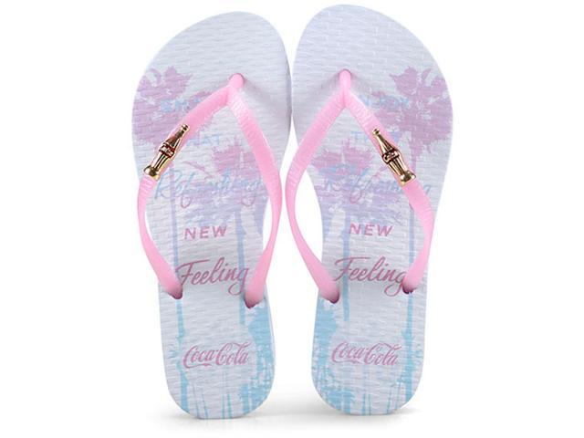 Chinelo Feminino Coca-cola Shoes Cc2526 Branco Gloss
