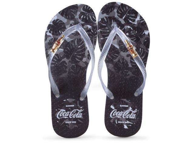 Chinelo Feminino Coca-cola Shoes Cc2586 Branco/preto Cristal
