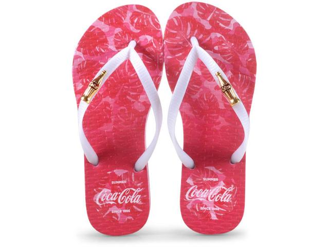 Chinelo Feminino Coca-cola Shoes Cc2586 Rosa Claro/branco