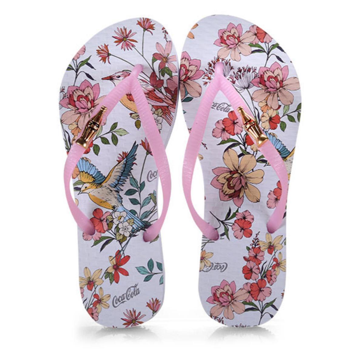 Chinelo Feminino Coca-cola Shoes Cc2661 Branco/rosa Claro