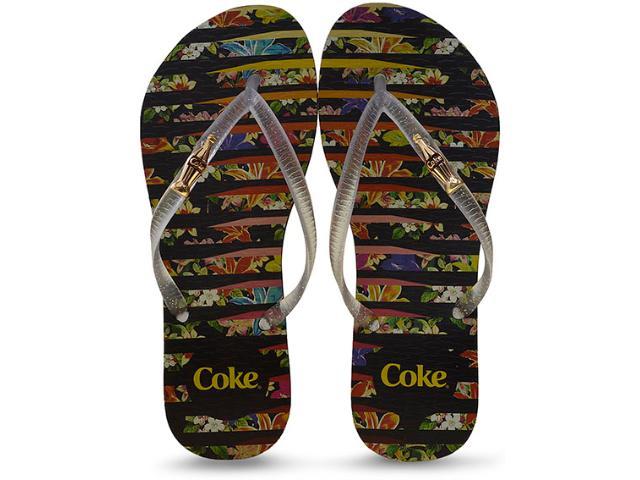 Chinelo Feminino Coca-cola Shoes Cc2252 Preto/cristal