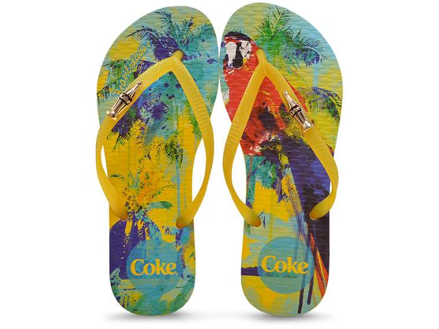 Chinelo Feminino Coca-cola Shoes Cc2185 Amarelo