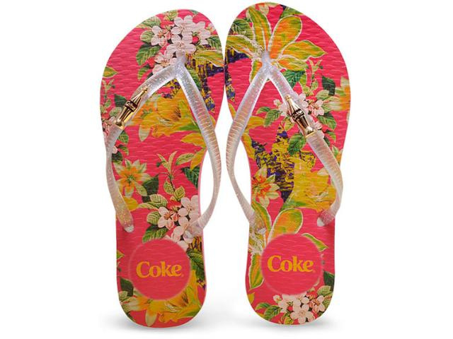 Chinelo Feminino Coca-cola Shoes Cc2250 Pink/cristal