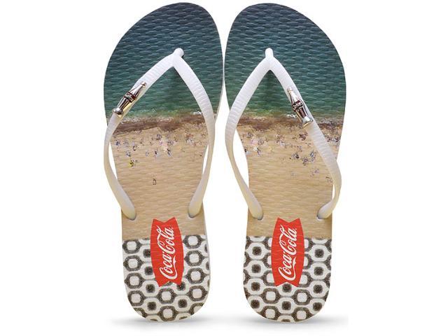 Chinelo Feminino Coca-cola Shoes Cc2086 Branco