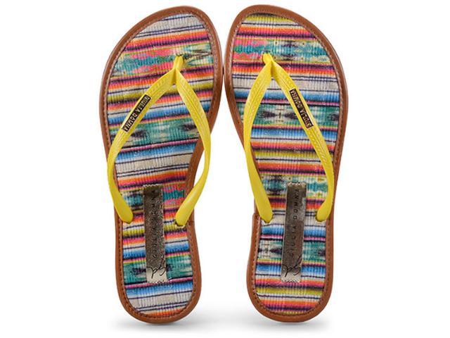 Feminino Giulia Domna 018.26/172 Chinelo+bolsa Amarelo/listras Multicolor