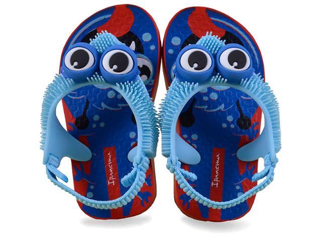 Chinelo Masc Infantil Grendene 26159 Ipanema Fluffy Vermelho/azul