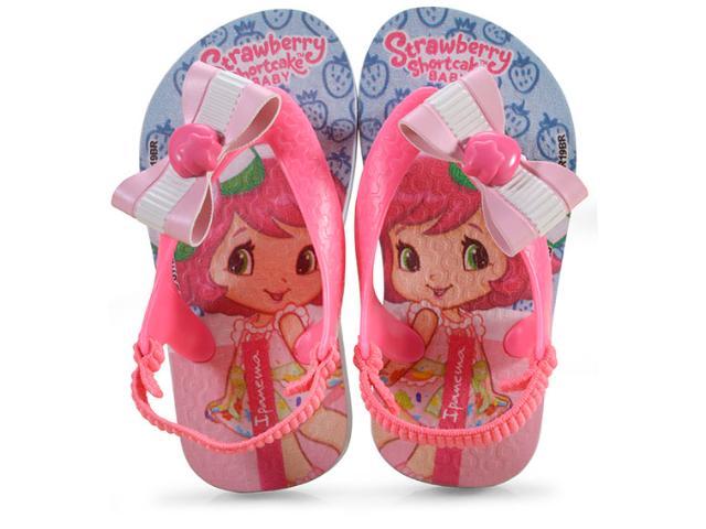 Chinelo Fem Infantil Grendene 25511 24095 Moranguinho Pop ba Azul/rosa Neon