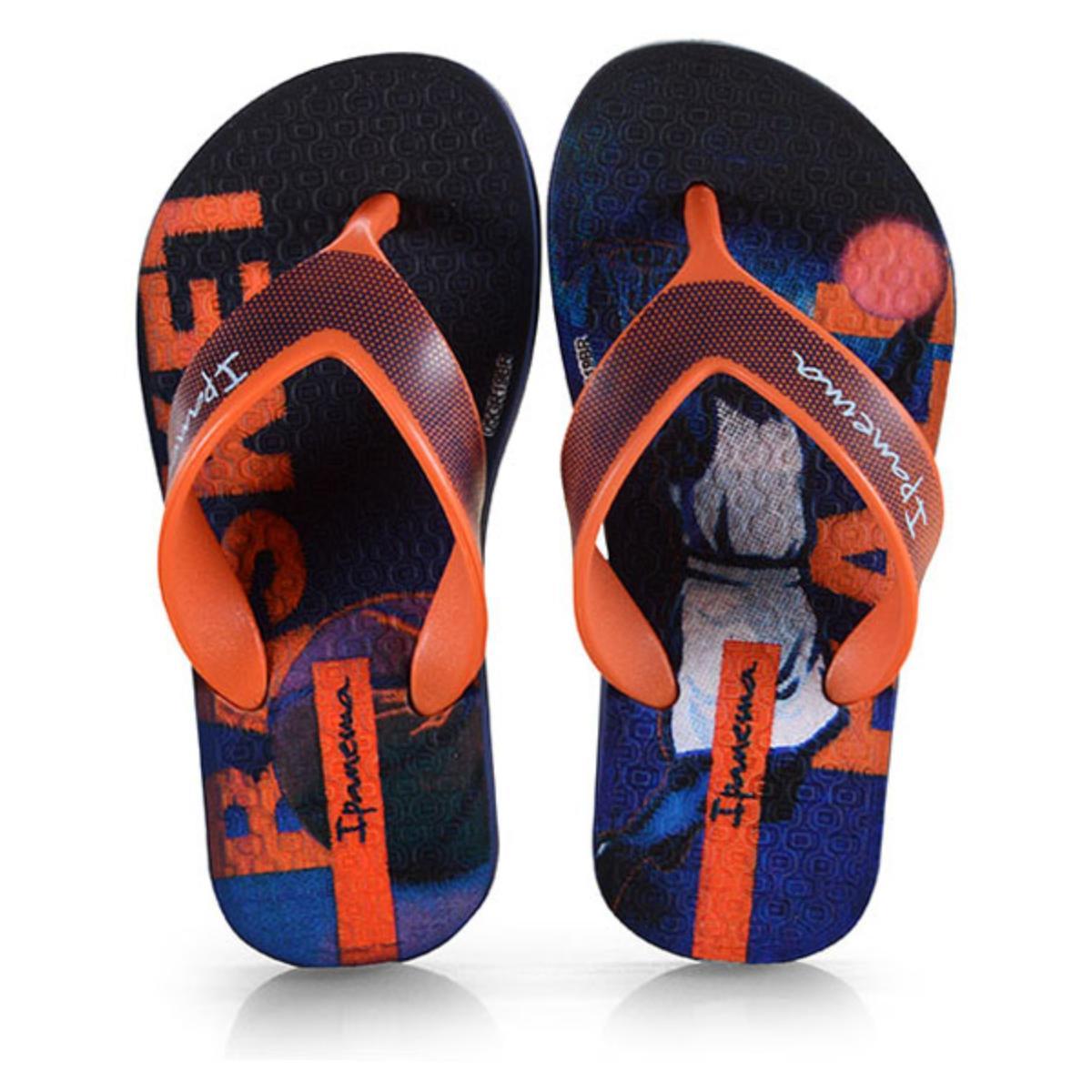 Chinelo Masc Infantil Grendene 25759 22887 Ipanema Deck Inf Azul/laranja