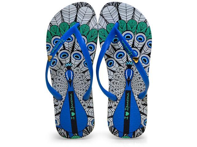 Chinelo Feminino Grendene 25970 Ipanema Art Preto/azul