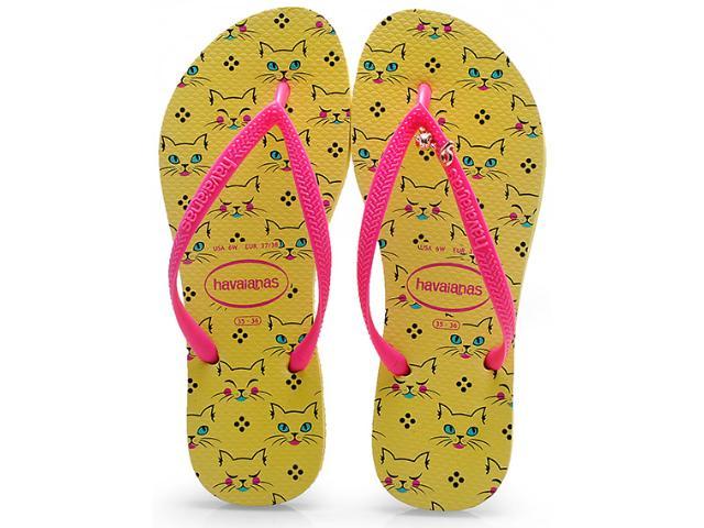 Chinelo Feminino Havaianas Slim Pets cf Amarelo