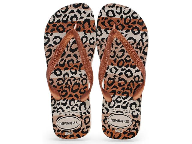 Chinelo Feminino Havaianas Top Animals Bege Palha
