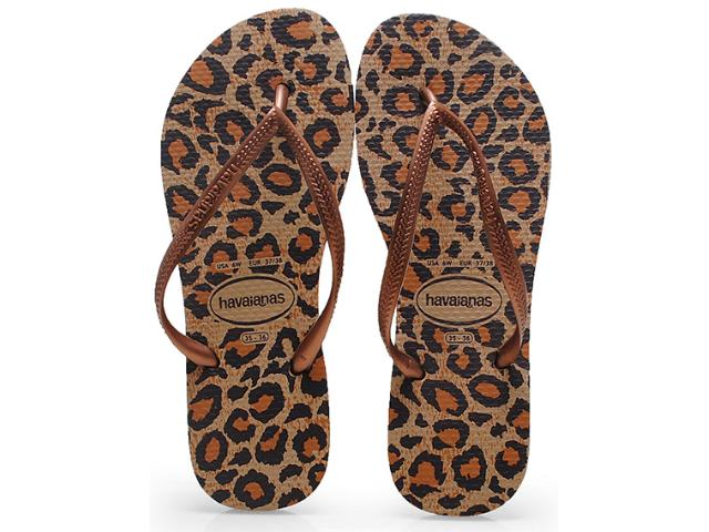 Chinelo Feminino Havaianas Slim Animals Bege