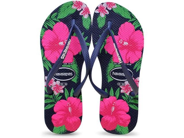 Chinelo Feminino Havaianas Slim Floral Marinho