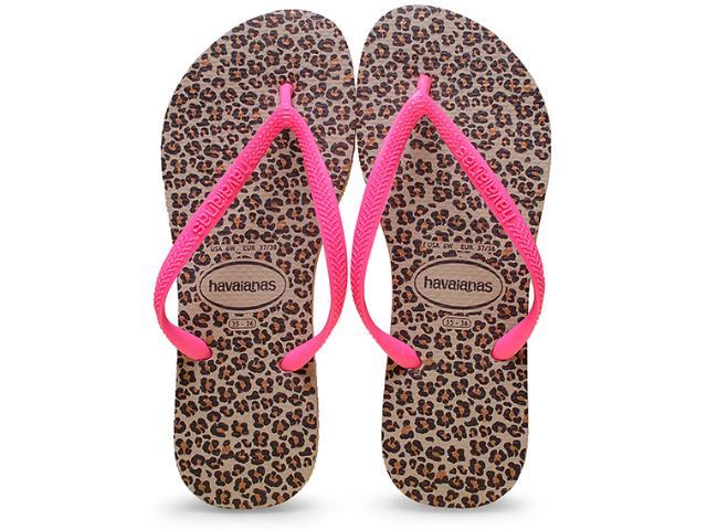 Chinelo Feminino Havaianas Slim Animals Areia/pink