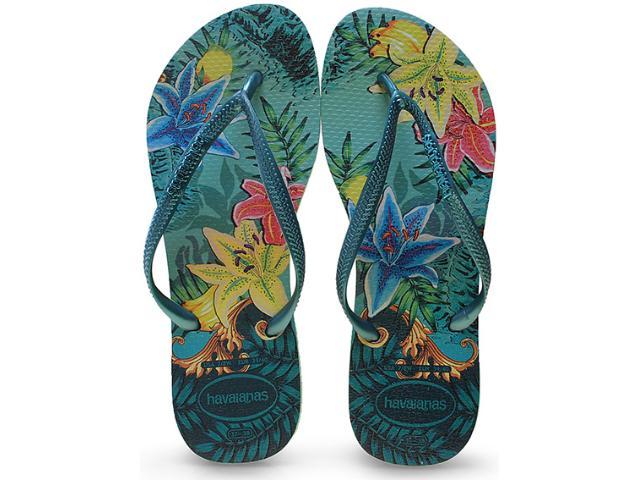 Chinelo Feminino Havaianas Slim Tropical Verde Pastel