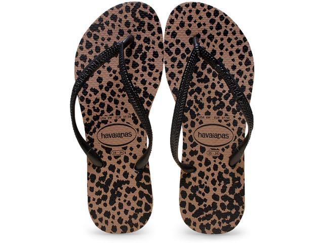Chinelo Feminino Havaianas Slim Animals Rose Gold/preto