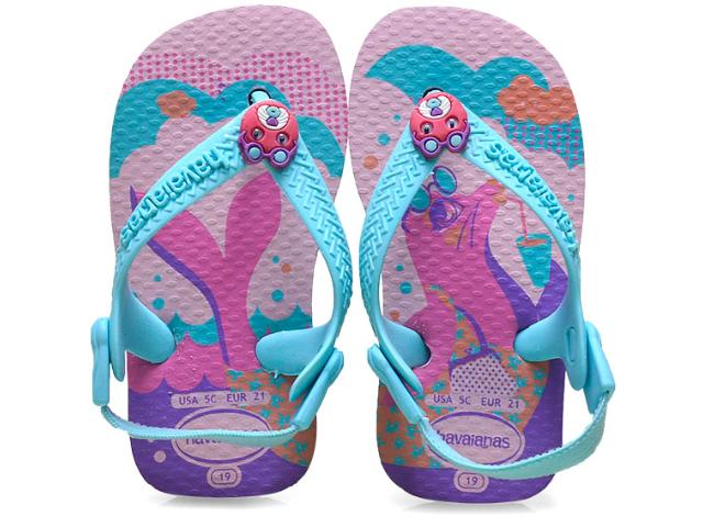 Chinelo Fem Infantil Havaianas Baby Pets Rosa/ice Blue