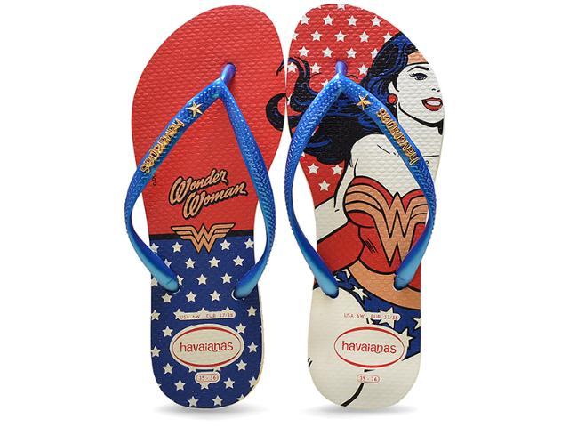 Chinelo Feminino Havaianas Slim Heroinas Branco/azul/vermelho