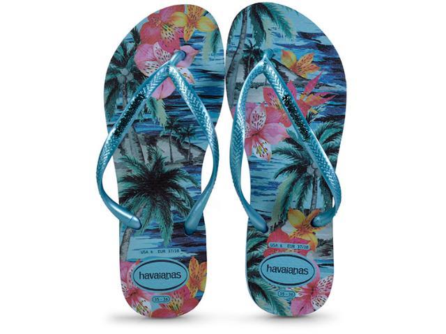 Chinelo Feminino Havaianas Slim Tropical Azul Splash