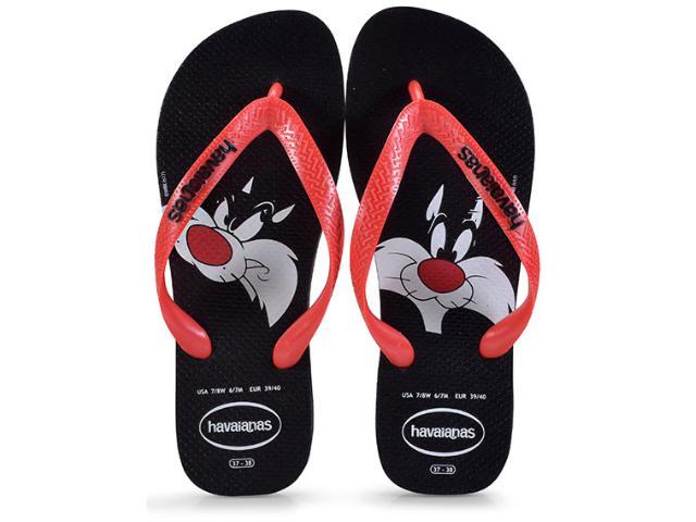 Chinelo Masculino Havaianas Looney Tunes  Preto/vermelho