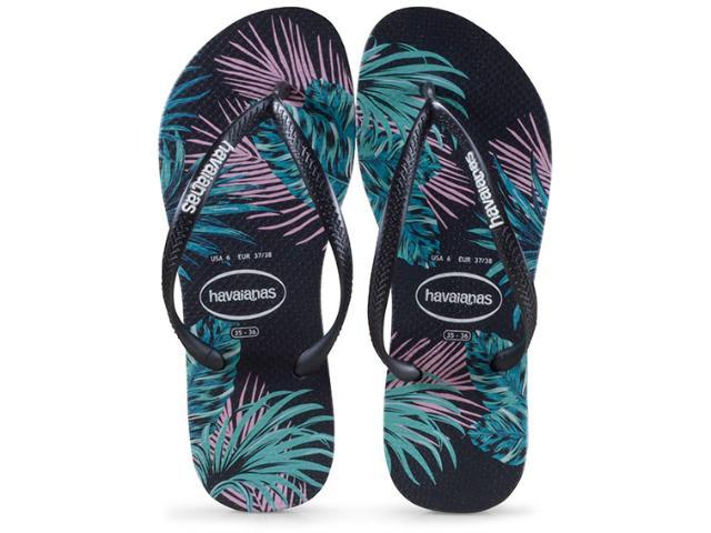 Chinelo Feminino Havaianas Slim Tropical Preto