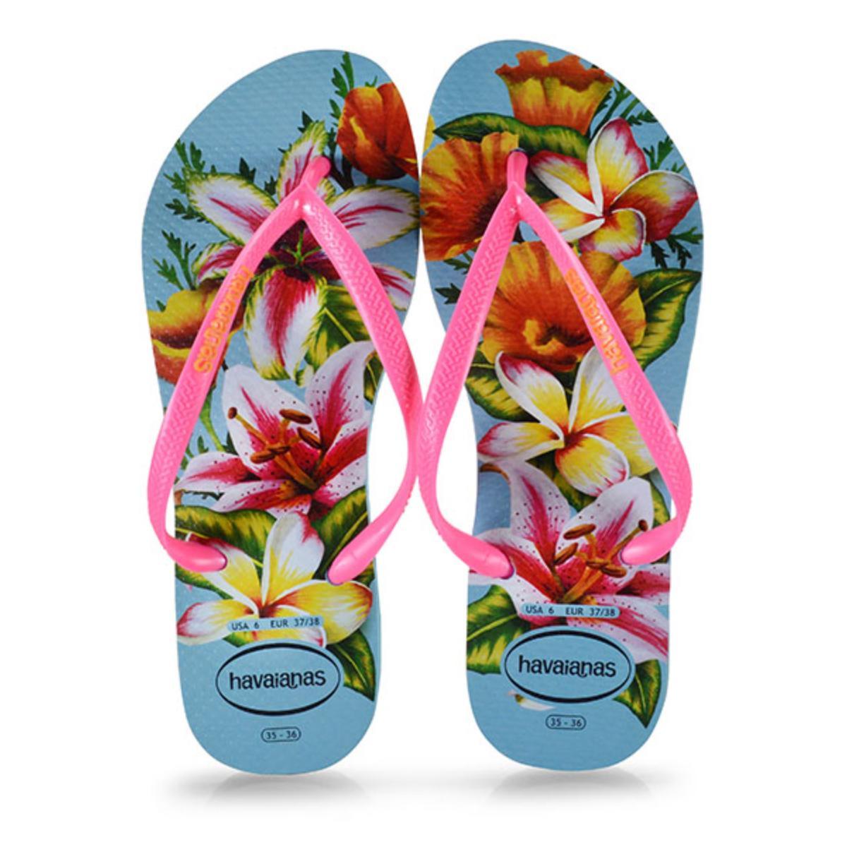 Chinelo Feminino Havaianas Slim Floral fc Azul