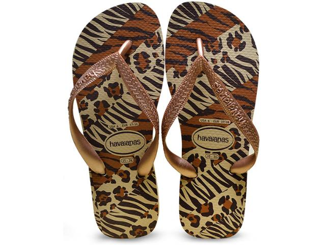 Chinelo Feminino Havaianas Top Animals Areia/rose Gold