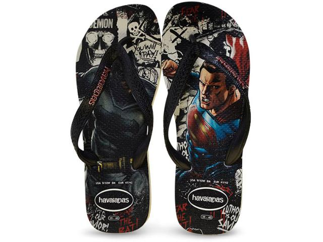 Chinelo Masculino Havaianas Batman x Supermann Branco/preto