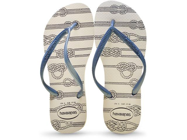 Chinelo Feminino Havaianas Slim Nautical Branco