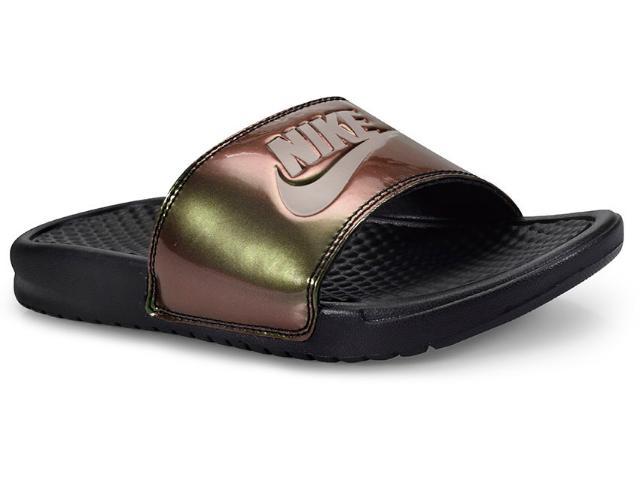 Chinelo Feminino Nike 618919-012 Wmns Benassi Preto/verde