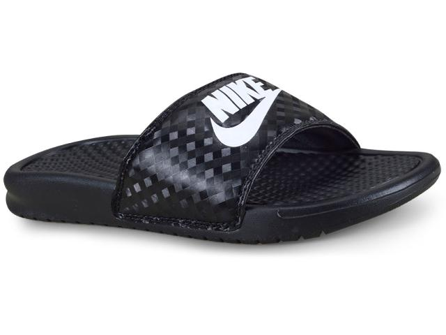 Chinelo Feminino Nike 343881-011 Benassi Just d0 it  Preto/branco