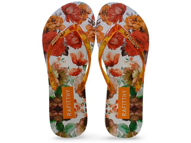 Chinelo Feminino Rafitthy 222.61701 Lovely Flowers Laranja