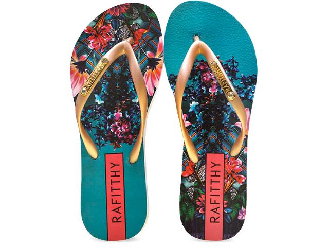 Chinelo Feminino Rafitthy 222.61702 Tropical Blue Dourado