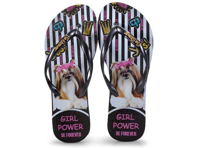 Chinelo Feminino Rafitthy 110.81701 Shitzu Girl Power Preto